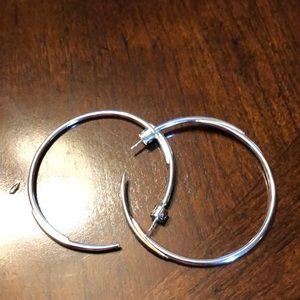 EUC Stella & Dot silver hoop earrings